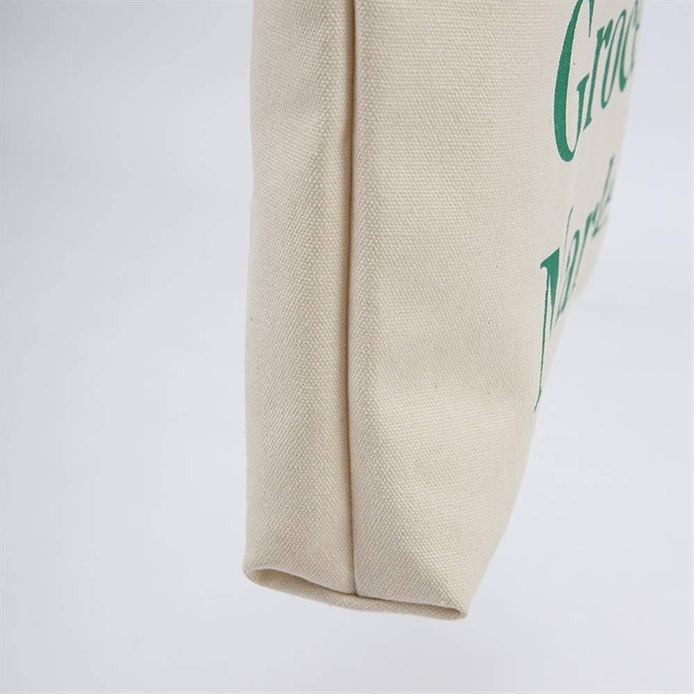 Canvas Shoulder Bag Multipurpose Green Letter Large-Capacity Canvas Tote Shoulder Bag Handbag White