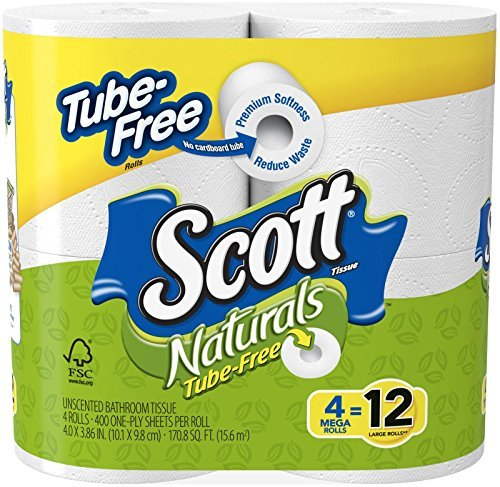 Scott Naturals Tube Free Unscented Bathroom Tissue Mega Rolls 4-Count (Pack of 12)