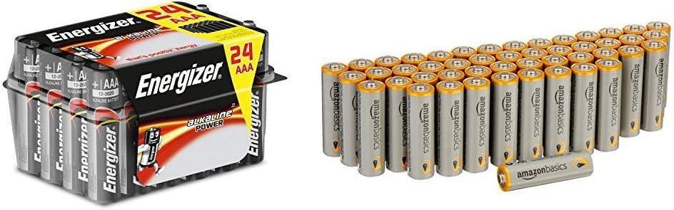 Energizer E92 - Pack de 24 Pilas alcalinas AAA, Color Negro & AmazonBasics: Amazon.es: Electrónica