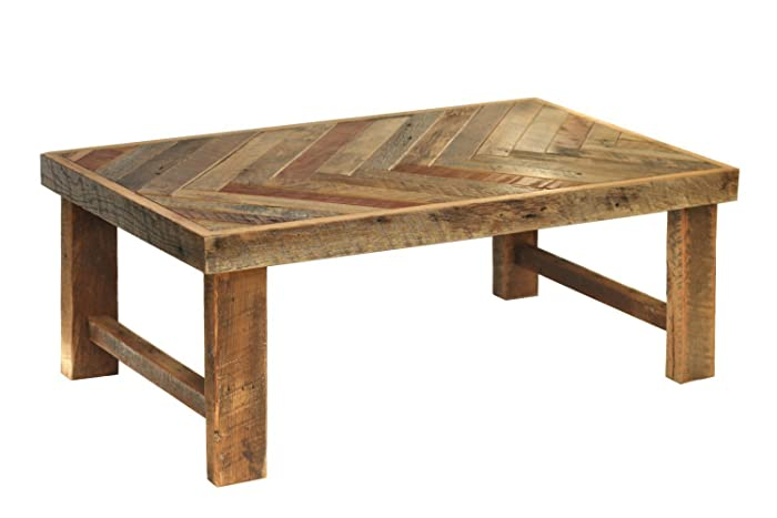 Superbe Reclaimed Wood Herringbone Coffee Table With Wood Legs