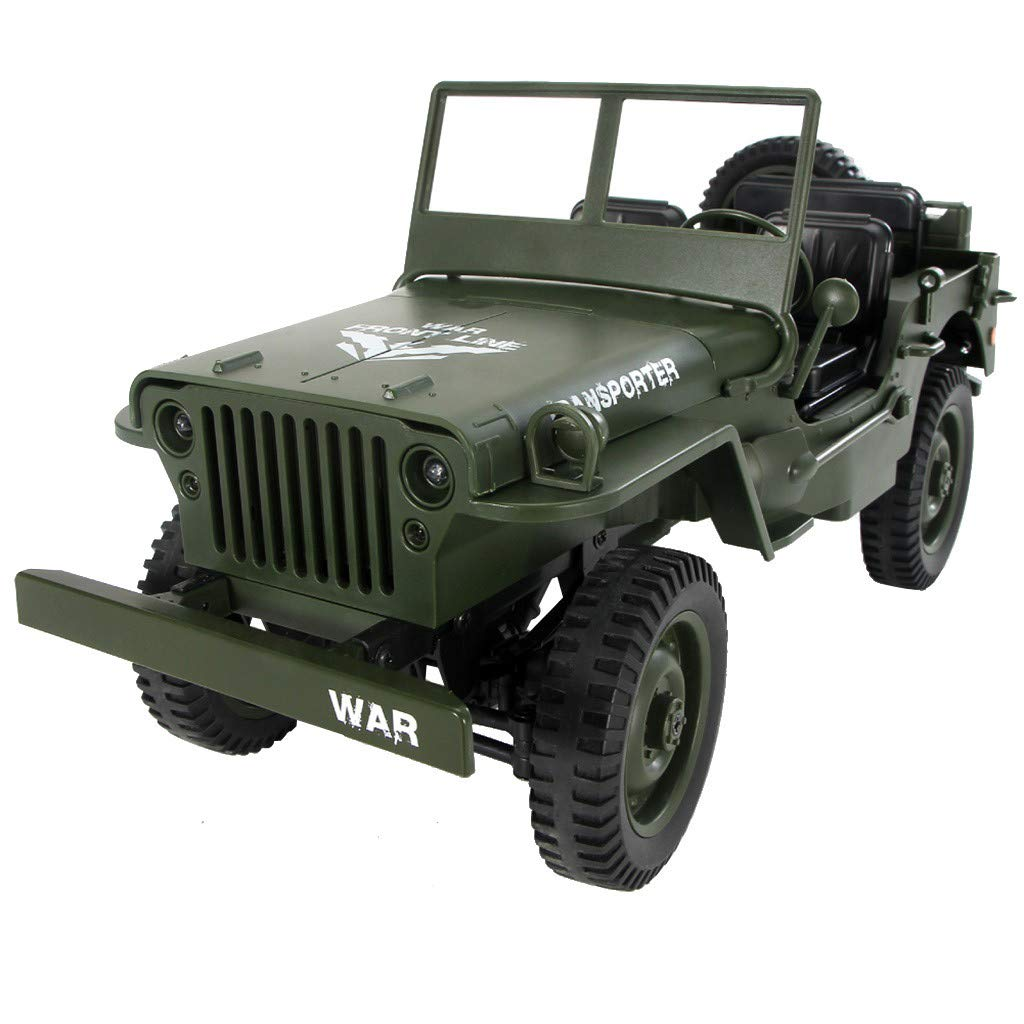 1:10 2.4Ghz 4WD Off-Road Military Truck RC Hobby Toys Open Off Road Crawler Rechargeable Army Car Rock Crawler 1/10 Scale Electric Racing Car for Kids & Adults