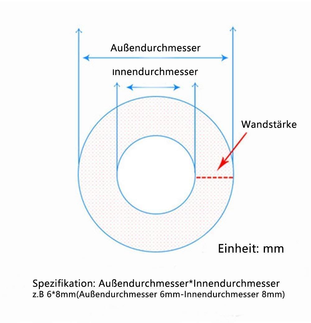 Wandst/ärke 2,5mm Wasser Luft Schlauch TEN-HIGH 5m Flexibler Silikonschlauch 16mm ID x 21mm AD