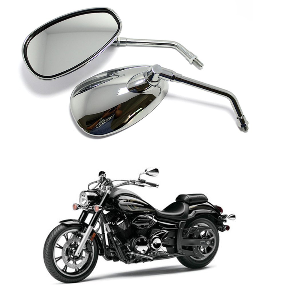 Specchietti Retrovisori Laterali Moto 10MM per Cruiser -Chrome (Chrome) Lady Outlet Mall