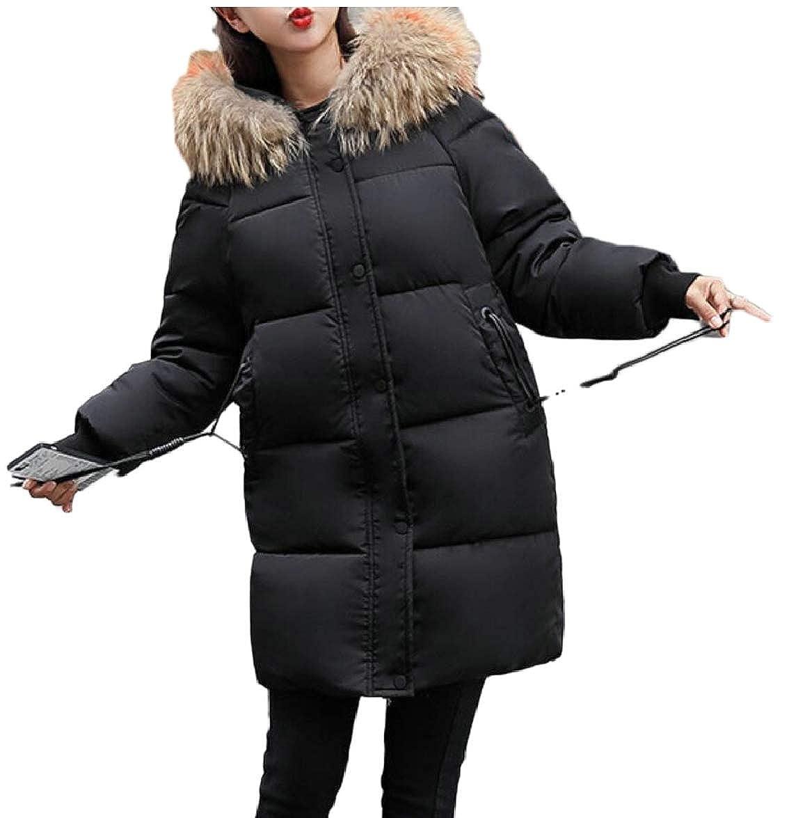 Black ouxiuli Women Loose FauxFur Collar Thicken Outerwear Padded Down Jacket Coat