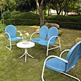 Cheap Crosley Furniture Griffith 4-Piece Metal Outdoor Conversation Set with Table, Loveseat, and 2 Chairs – Sky Blue