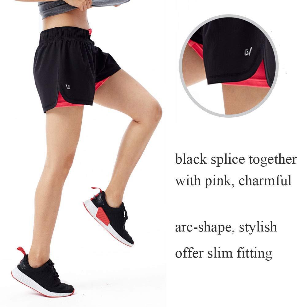 GARVIRP Pantalones Cortos para Correr Deportivos para Mujer Pantalones Cortos 2 en 1 Pantalones Cortos de Verano Calientes Pantalones desecado r/ápido Transpirables