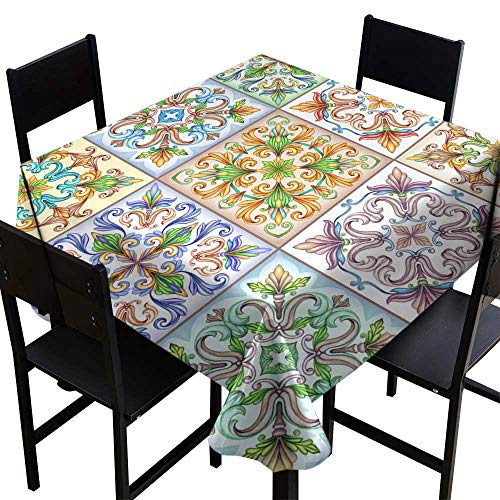 Table Cover for Dinner Kitchenwatercolor Illustration Abstract Seamless Background Vintage Pattern Medieval Acanthus Mosaic Ceramic Tile Ornament Kaleidoscope Patchwork,W36 x L36 for Cards