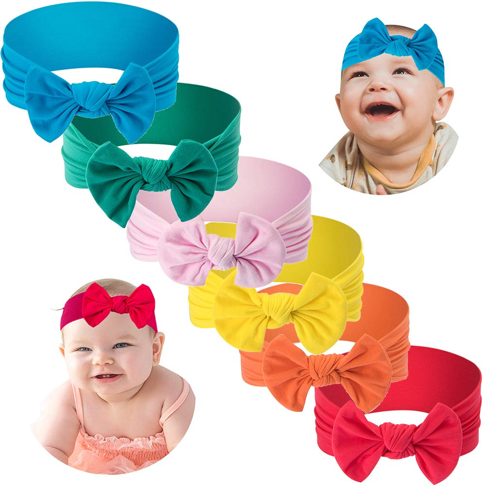 ZURLEFY Baby Girl Headbands and Bows Solid Turban Hair Band Toddler Newborn Infant Stretchy Headwear Accessories