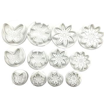 Juego de 12 moldes cortadores de plástico con patrón de flores, para decoración de tartas, galletas, ...