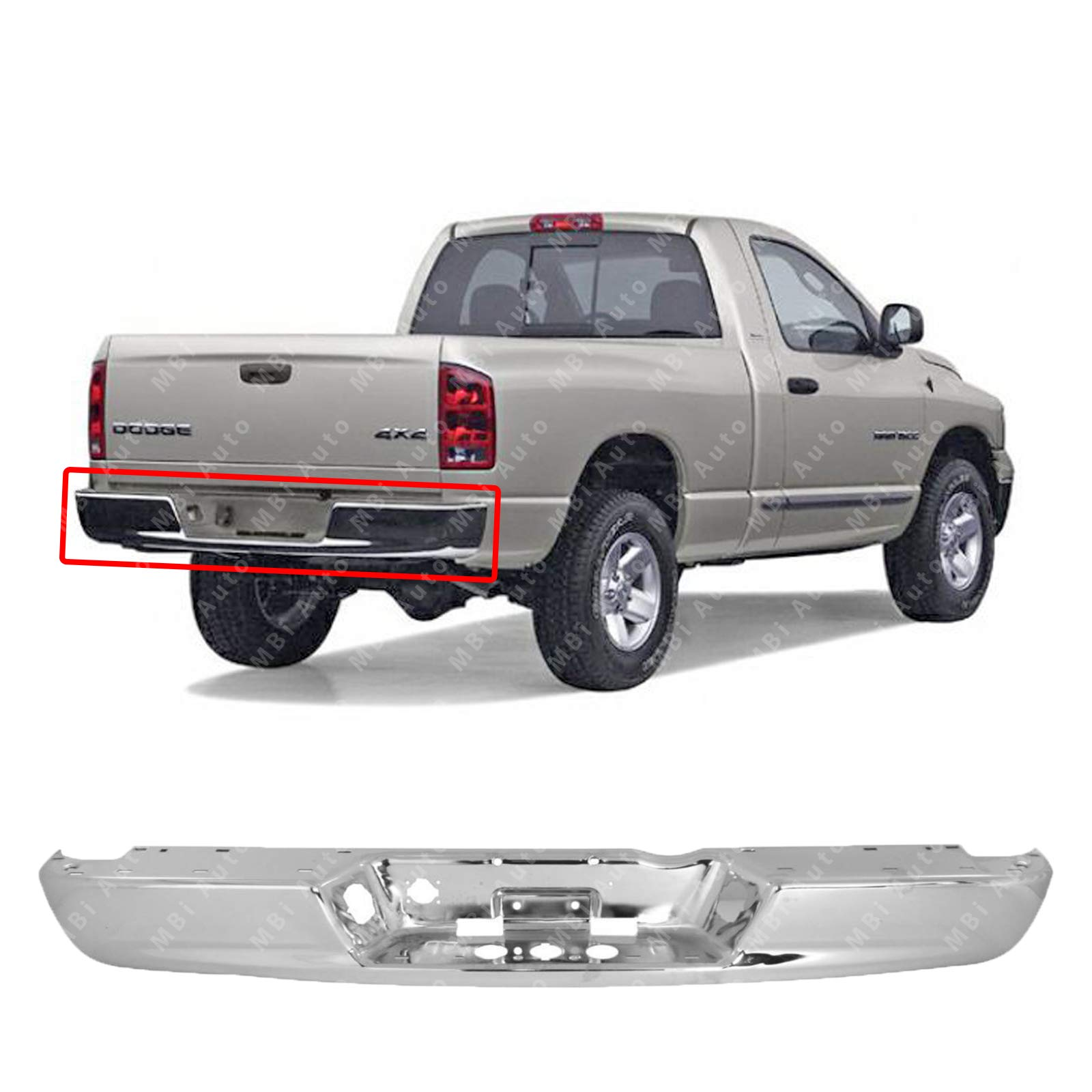 MBI AUTO - Steel Chrome, Rear Bumper Face Bar for 2002 2003 2004 2005 2006 2007 2008 2009 Dodge RAM 1500 2500 3500 HD, CH1102371