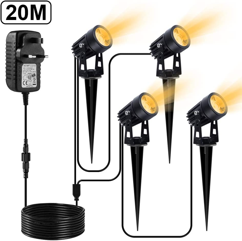 Warm White, Pack of 4 Pool CHINLY Landscape Lights 65.6ft//20m 12V LED Spotlights IP65 Waterproof for Tree Sidewalk Shrubs House Lawn Garden Spike Lights with Plug Energy Class A