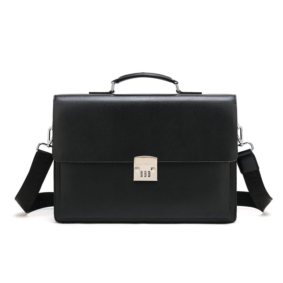 Mioy Vintage Leder Aktentasche Herren 14 Zoll Laptop Umhängetasche Classic Messenger Bag Moderne Ledertasche Wasserdichte Schultertasche (Braun)