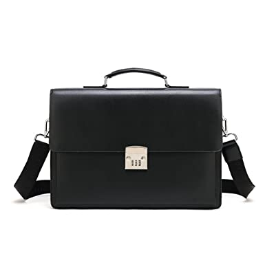 e9e11b7ed8ca Mioy Vintage Men's Leather Briefcase Classic Shoulder Messenger Bag 14 inch  Laptop Bag Tote Business Work bag With Code-Lock