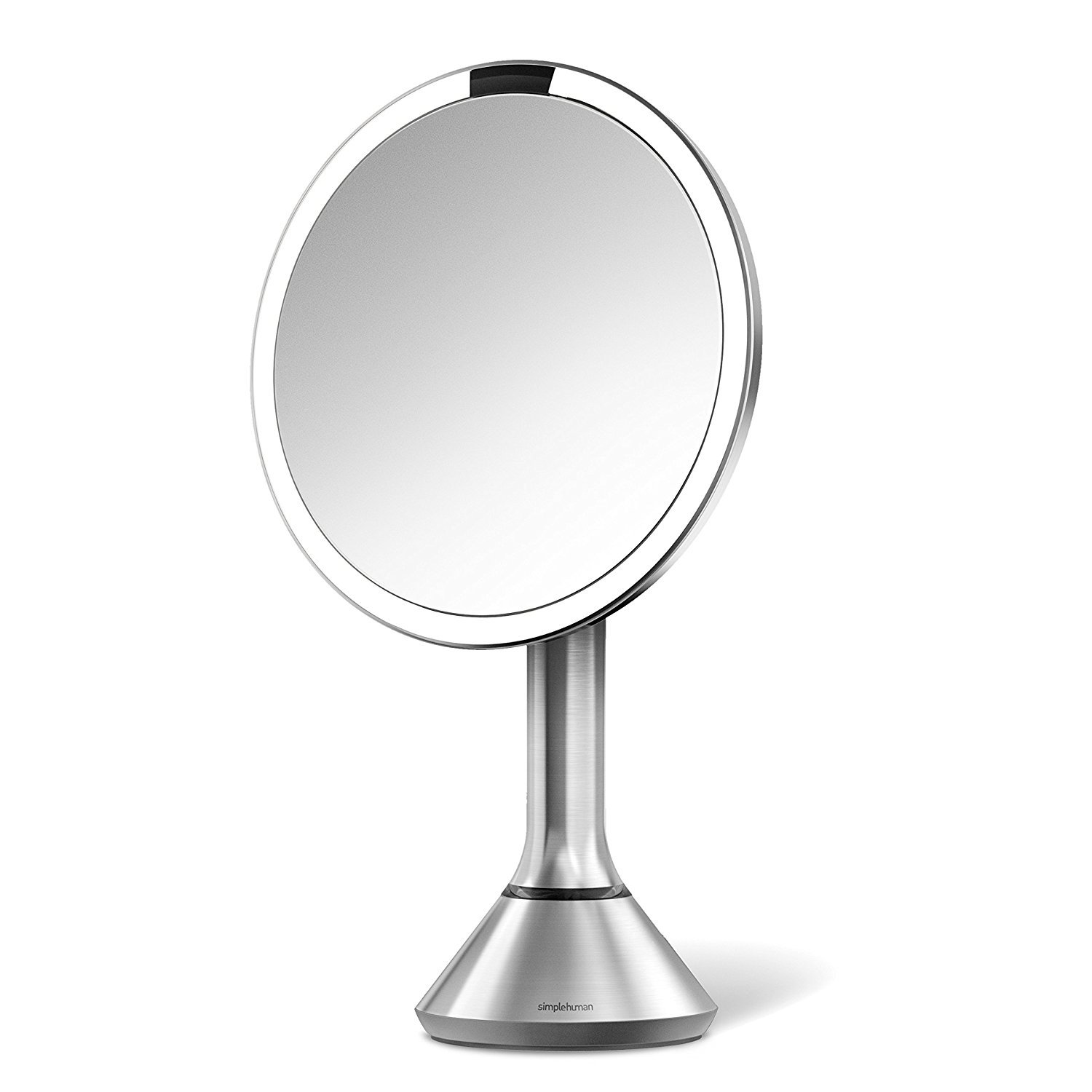 simplehuman Sensor Lighted Makeup Vanity Mirror 8'' Round, 5X Magnification, Stainless Steel, Rechargeable and Cordless