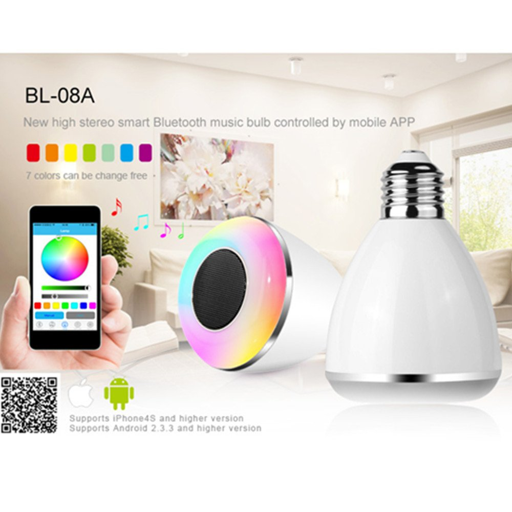 Farsler Bl08a Wireless Bluetooth 40 Speaker Smart Led Light Bulb All Electrical Appliances Including Bulbs Stereos And Music Lamp With Free App Controlled Support Iphone Android