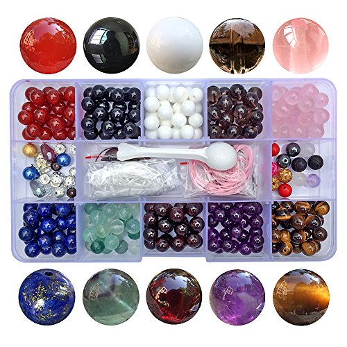 Chengmu 8mm Bead Kit Gemstone Beads for Jewelry Making 1 Box 10 Species Natural Amethyst Lapis Black Onyx Crystal Tiger Eye etc Round Loose Stone Beads Set Assortments Findings for Bracelet Color D