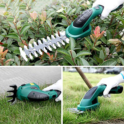 JQ-LOVE Lawnmower 7.2V 2 in 1 Cordless Grass and Hedge Trimmer 2 Interchangeable Blades Telescopic Handle Trolley Wheel Attachments