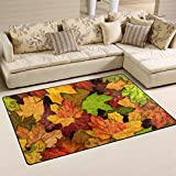 Naanle Autumn Leaves Area Rug 3'x5′, Fall Leaves Polyester Area Rug Mat for Living Dining Dorm Room Bedroom Home Decorative Review