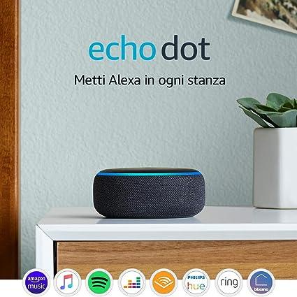 """Supporto /""""Made for /"""" per Echo Dot - Si installa in pochi minuti con Strisce adesive 3M o Viti incluse Nero 3a Gen"""