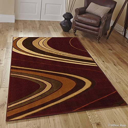 Allstar 5×7 Maroon Modern and Contemporary Machine Carved Rectangular Accent Rug with Ivory, Mocha and Espresso Wavy Line Design 5 2 x 7 1