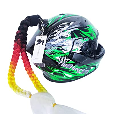 Helmet Not Included Hai Hong Helmet Pigtail Motorcycle Helmet Ponytail Bicycle Helmet Braids Hair Tails Used for Any Helmets//Reusable Design 24Inch