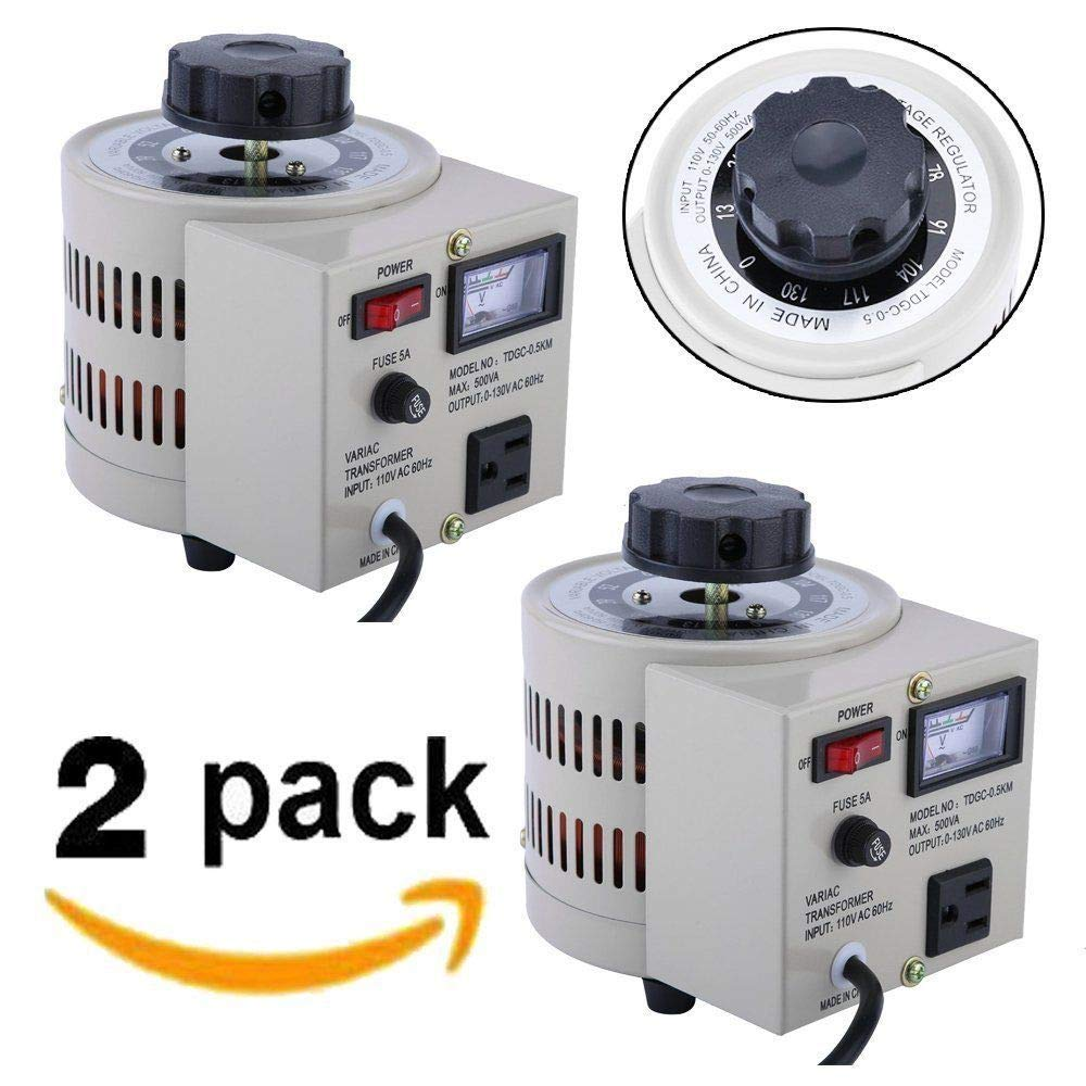 2PCs 500W 0-130V AC Voltage Regulator Lab Variac Transformer Variable Meter 5 Amp2PCs 500W 0-130V AC Voltage Regulator Lab Variac Transformer Variable Meter 5 Amp