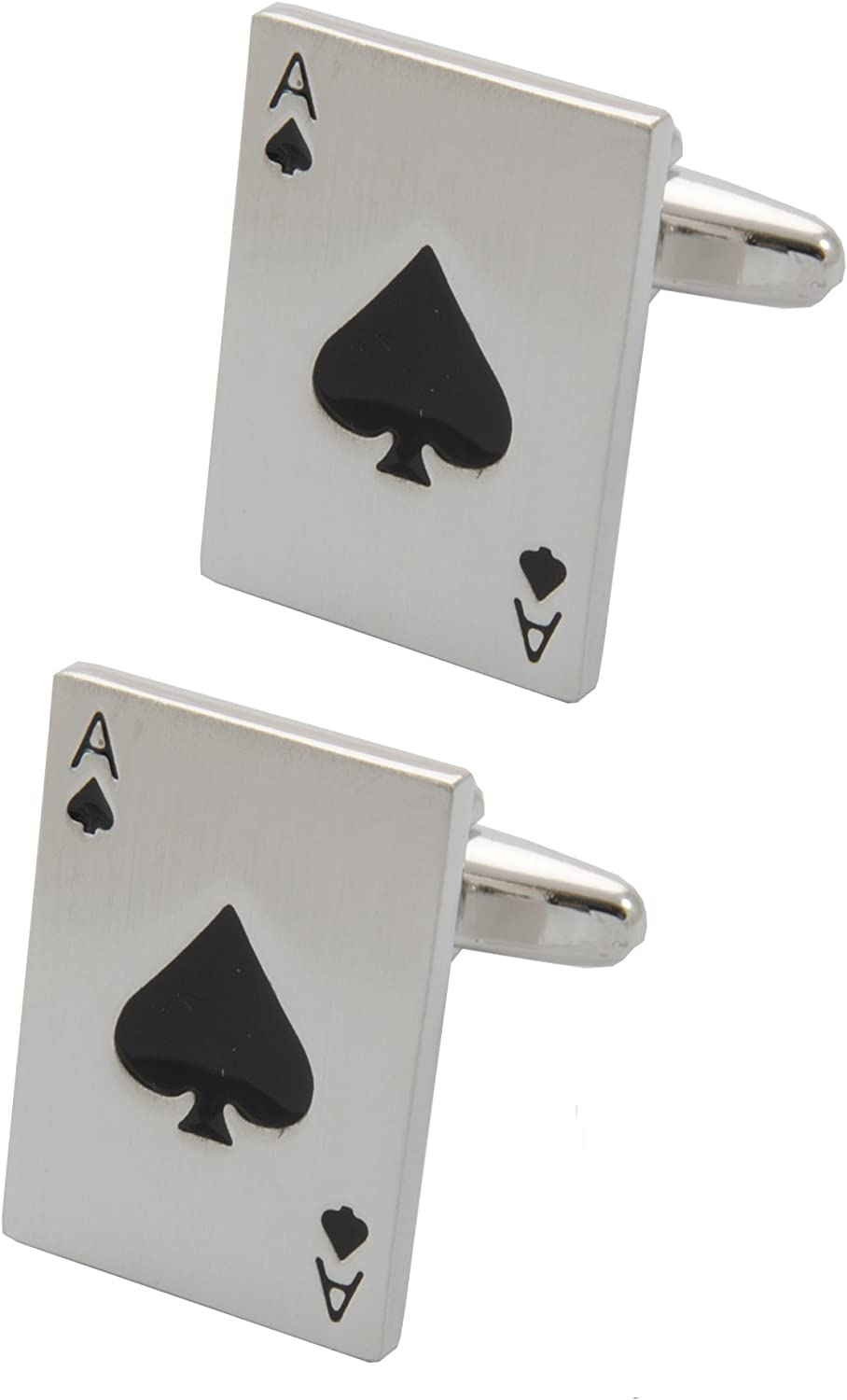 COLLAR AND CUFFS LONDON - Premium Cufflinks with Gift Box - Ace of Spades - Pack of Cards - Poker Magic Magician Game - Silver Color