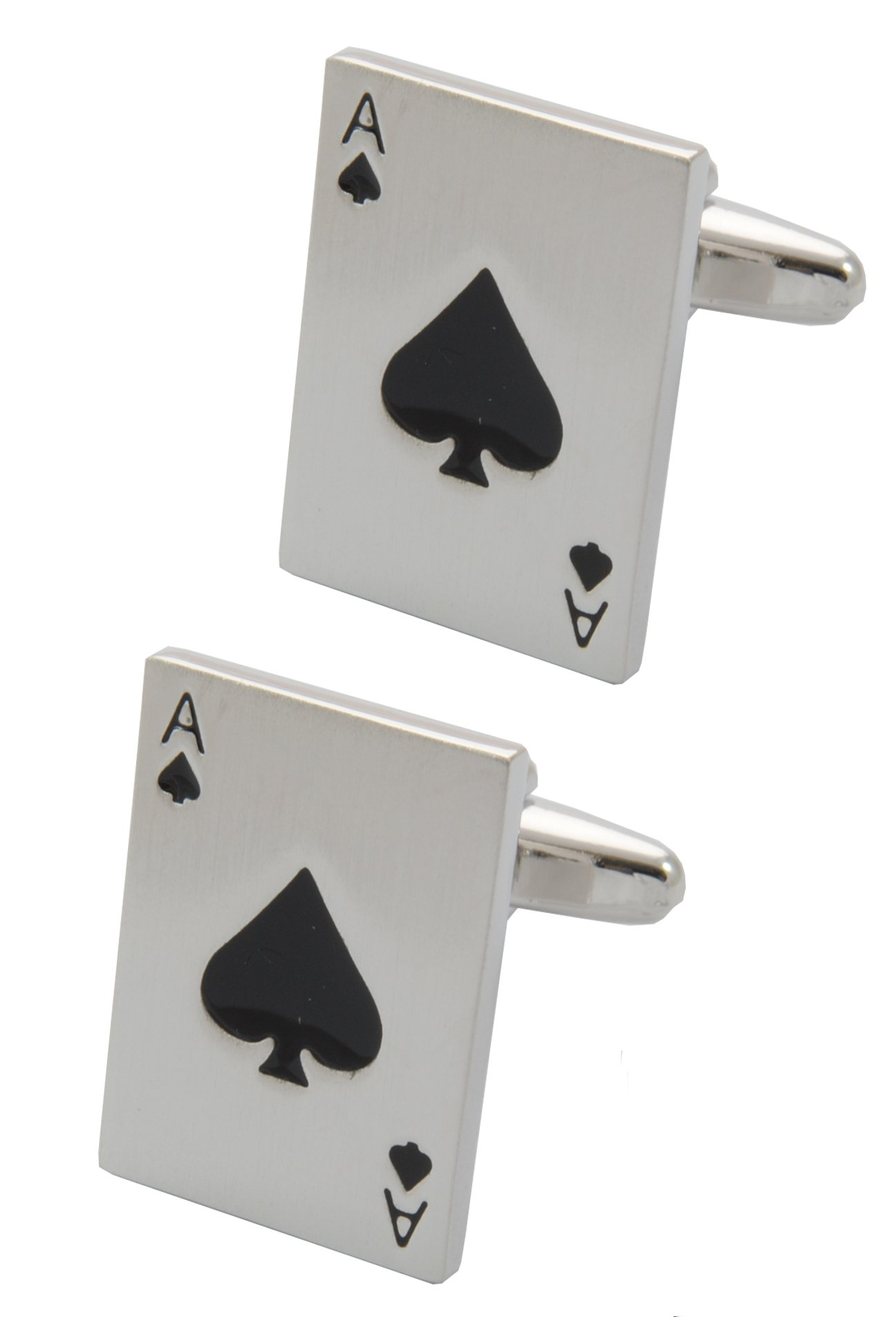 COLLAR AND CUFFS LONDON - Premium Cufflinks with Gift Box - Ace of Spades - Pack of Cards - Poker Magic Magician Game - Silver Colour