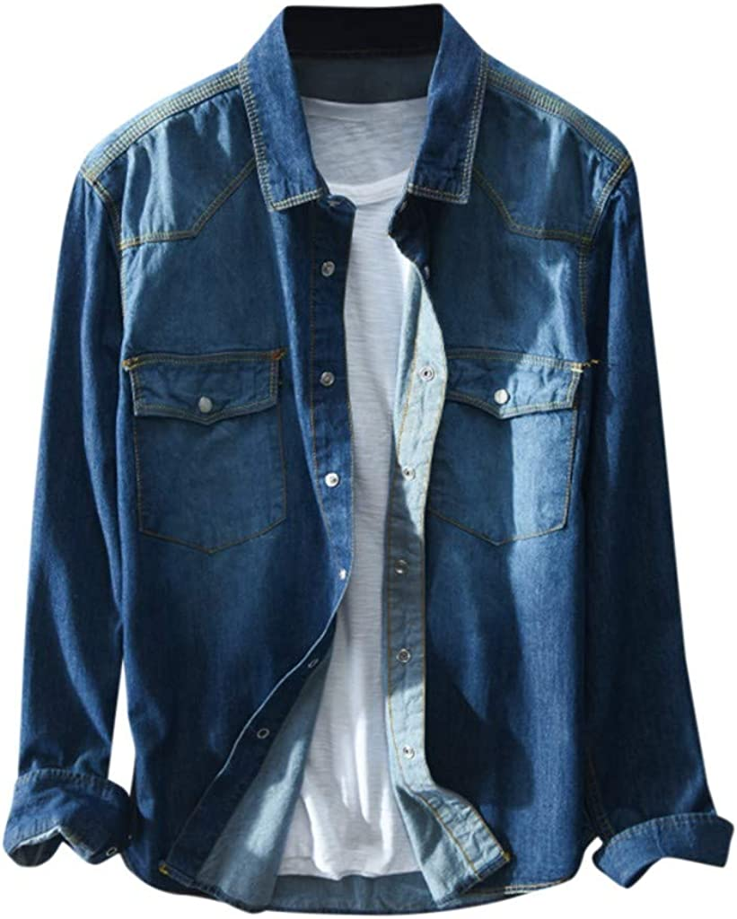 Mens Standard-Fit Denim Long Sleeve Button Washed Shirt Jacket