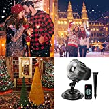 Snowfall Projector LED Christmas Lights, IP65 Waterproof Rotating Mini Projection Snowflake Lamp with Wireless Remote Control for Halloween Party Wedding and Garden Decorations