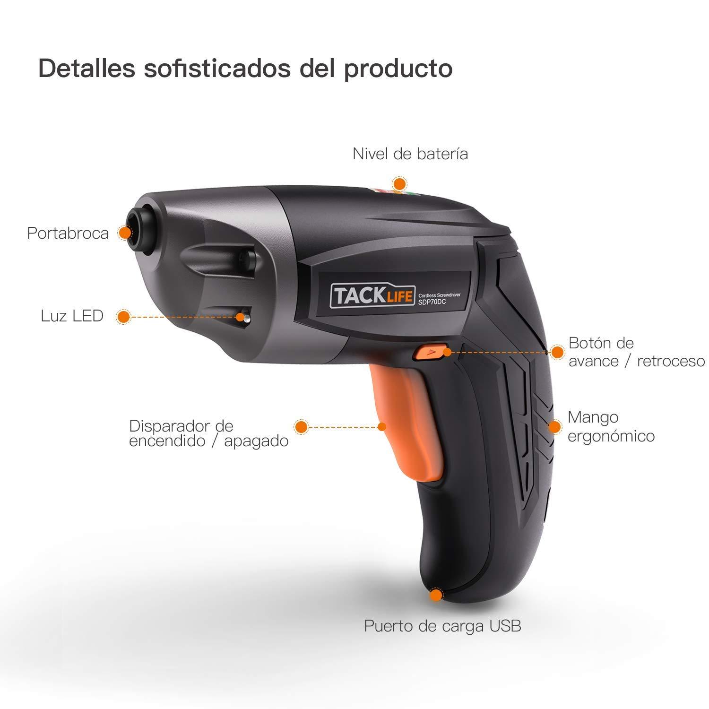 Oferta Destornillador Eléctrico Tacklife SDP70DC por 17,99 euros (Cupón Descuento) 1 destornillador eléctrico tacklife