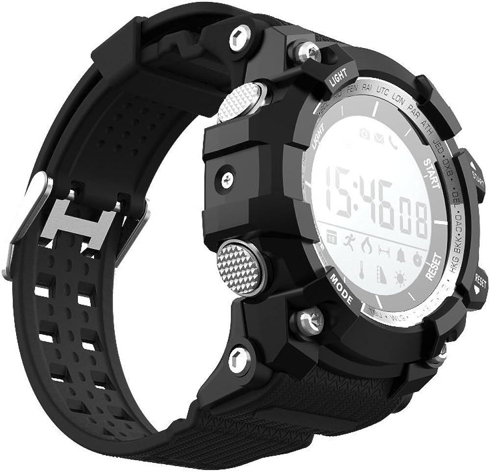 Leotec Smartwatch Mountain - Smartwatch, Sin necesidad de recarga,Altimetro,Temperatura ambiental,Sensor rayos UV, monitor de actividad,sumergible y notificaciones inteligentes, color Negro