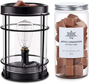 SOLIGT Edison Style Metal Candle Warmer Bundle with Apple Cinnamon Wax Melts Air Freshener, 15oz