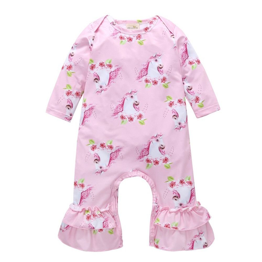 Newborn Baby Girls Unicorn Printed Romper Long Sleeve Jumpsuit Pajama