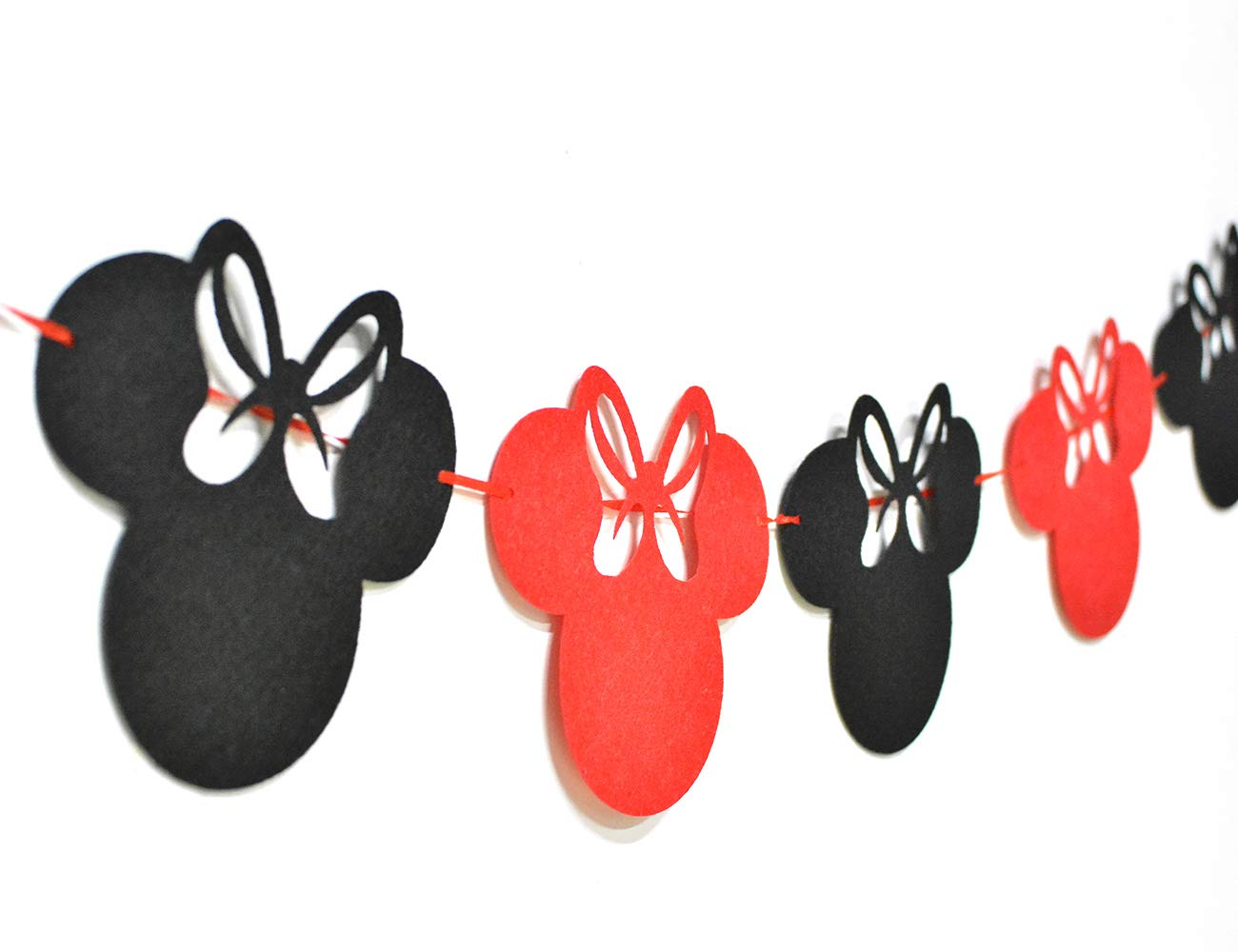 JOYMEMO Minnie Themed Party Supplies Birthday Decorations Red and Black for Girls, Ear Headband, Happy Birthday Banner and Garland for 1st 2nd Birthday Decorations