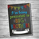 "Katie Doodle #PA002 Pregnancy Announcement Poster ""I'm Being Promoted To Big Brother"" - Baby Birth Announcement, Funny Pregnancy Reveal Surprise For Kids, Chalkboard Photoshoot Prop For Social Media"