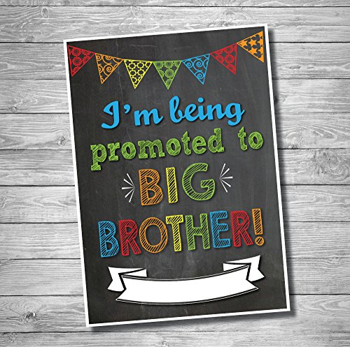 Katie Doodle Promoted to Big Brother Pregnancy Announcement Sign-Customizable, 12 x 18, Black