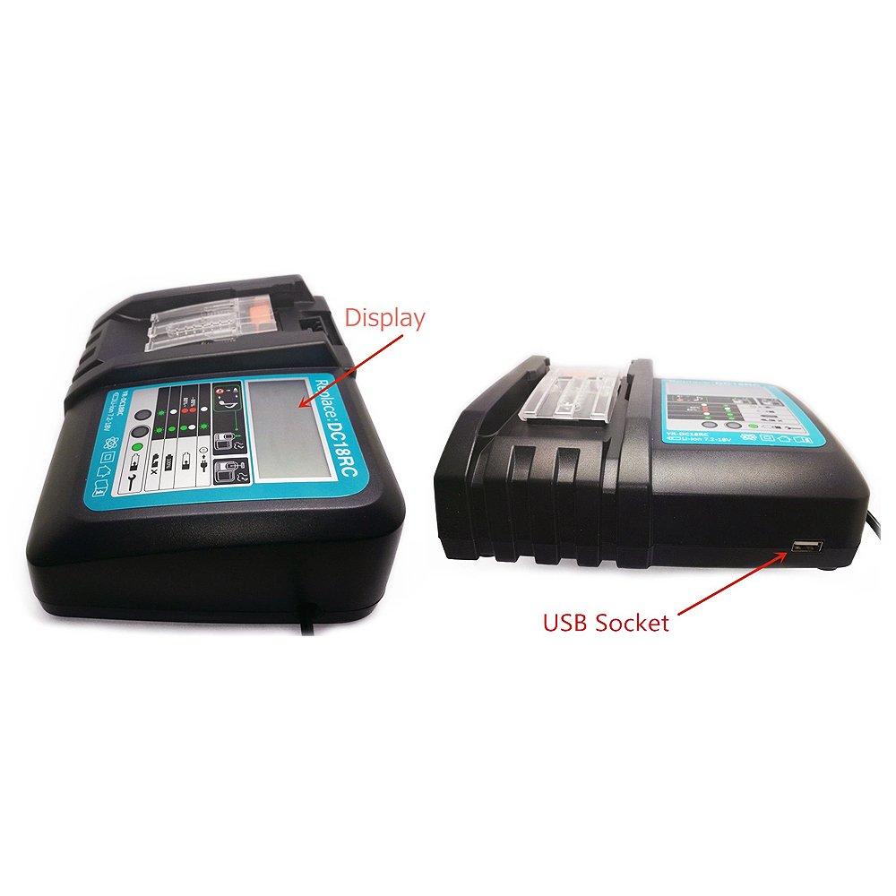 TOOGOO NOUVEAU Chargeur pour 14V a 18V MAK DC18RC outil au lithium chargeur de batterie avec prise de lUE