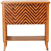 Heather Ann Creations Heirloom Collection Handcrafted 2 Drawer Chevron Accent Console with Shelf, 33 x 13 x 32, Woodtone