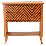 Heather Ann Creations Heirloom Collection Handcrafted 2 Drawer Chevron Accent Console with Shelf, 33'' x 13'' x 32'', Woodtone
