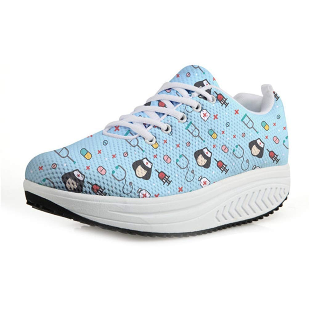 Bopoli Women Cartoon Nurse Cute Printed Sneakers Female Platform Casual Mesh Lightweight Wedge Swing Shoes