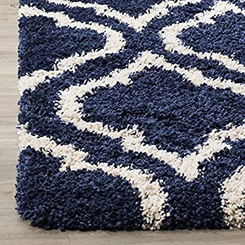 Safavieh Hudson Shag Collection SGH284C Navy and Ivory Moroccan Geometric Area Rug (8 x 10)