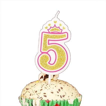 Amazon LOVELY BITON Gold 5 Happy Birthday Candles 0 9 Molded