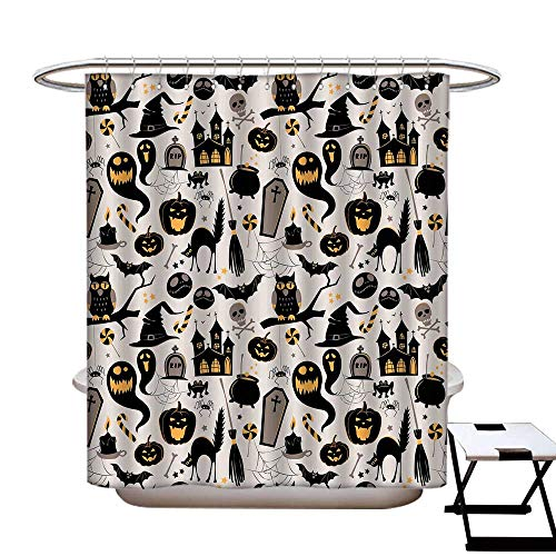 Vintage Halloween Hotel Quality Shower Curtain Liner Halloween Cartoon Jack o Lantern Tombstone Skulls and Bones Non Toxic,Rust Proof Grommets Holes Light Grey Multicolor