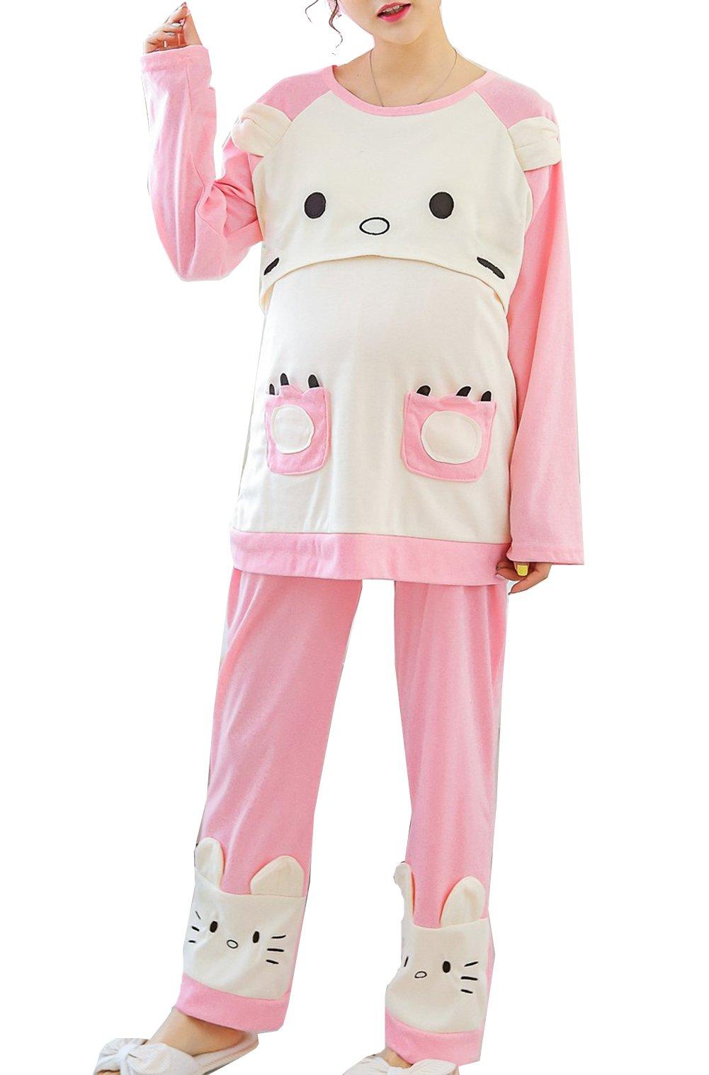 Women's Cute Cat Pattern Maternity Nursing Pajamas Set Breastfeeding Top and Pant, (Large)