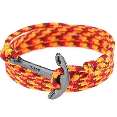 Nautical Anchor Bracelet Men Women, Nylon Rope Sailing Wrap Bracelet,  Length Adjustable