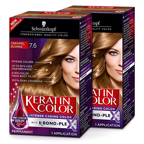 Schwarzkopf Keratin Color Permanent Hair Color Cream, 7.5 Caramel Blonde (Pack of 2) (Best Caramel Blonde Hair Dye)