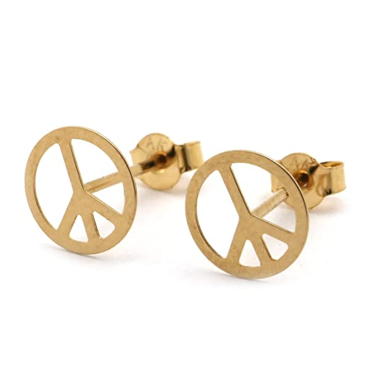 sign yellow peace earrings stud dp com gold amazon jewelry