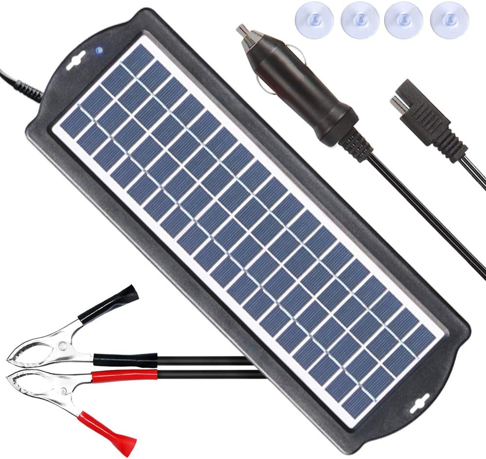 POWISER 3.5W Solar Battery Charger 12V Solar Powered Battery maintainer Charger,Suitable for Automotive, Motorcycle, Boat, Marine, RV, Trailer, Powersports, Snowmobile, etc. 3.5W Poly