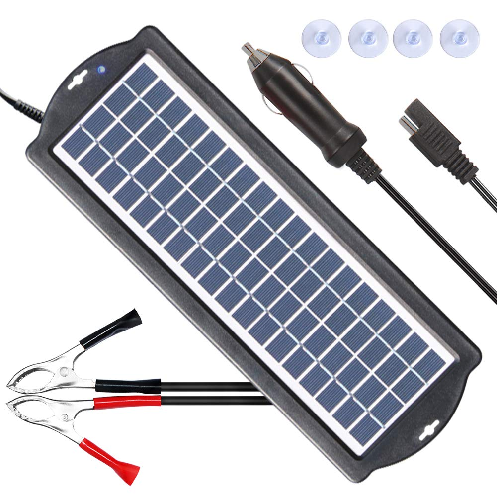 POWISER 3.5W Solar Battery Charger 12V Solar Powered Battery maintainer & Charger,Suitable for Automotive, Motorcycle, Boat, Marine, RV, Trailer, Powersports, Snowmobile, etc. (3.5W Poly) by POWISER